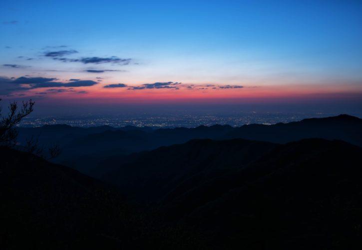 地平線と夕焼け